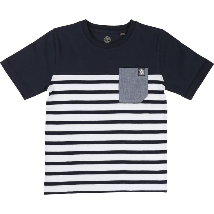 Boy's Black and White Striped T-shirt with Breast Pocket. Now available at www.chocolateclothing.co.uk