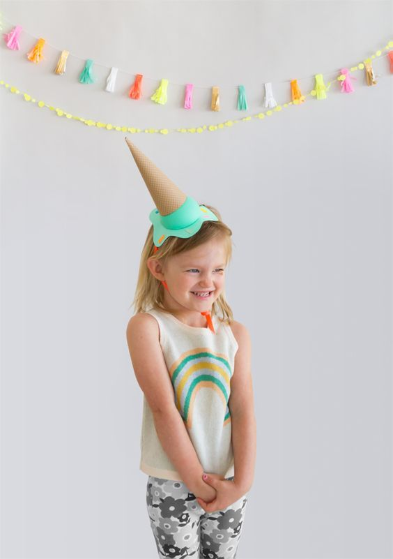 DIY Melting Ice Cream Party Hats from Oh Happy Day!
