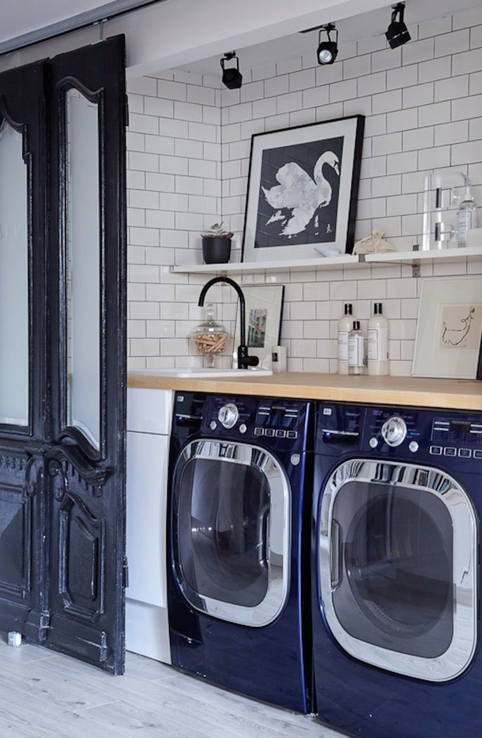 Great laundry space. modern with vintage with industrial