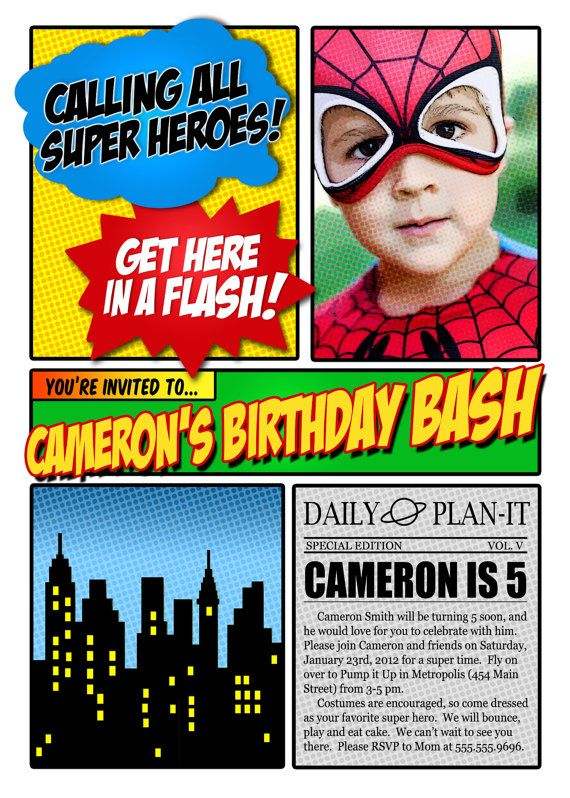Super Hero Photo Invitation Birthday Party by thepattycakepress, $20.00
