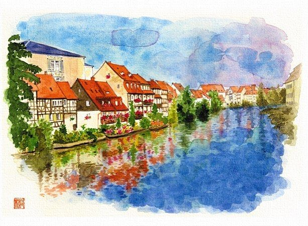 "145 Beğenme, 6 Yorum - Instagram'da Miki Arai (@moineau_miki): ""Bamberg, Germany 「河畔の民家」バンベルク/ドイツ  #watercolor #bamberg #germany #deutsch #deutschland #regnitz…"""