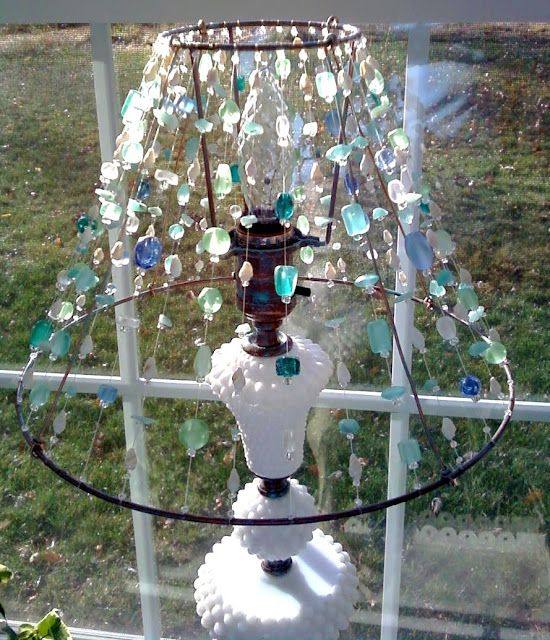 17 best images about seaglass on pinterest jars purple for Purple beaded lamp shade
