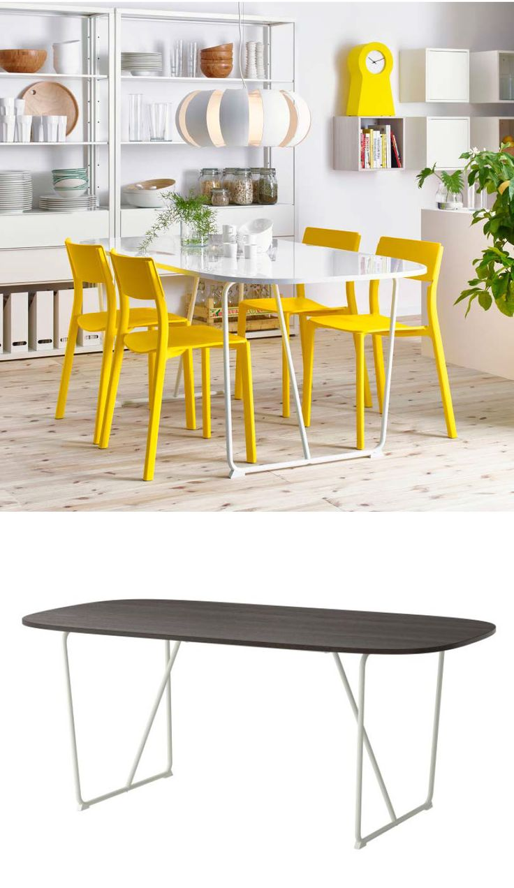 Turn the tables on boring dining. Give your home an easy refresh with our bold selection of table and leg combinations, Shown here: BACKARYD table-top and  OPPEBY underframe.