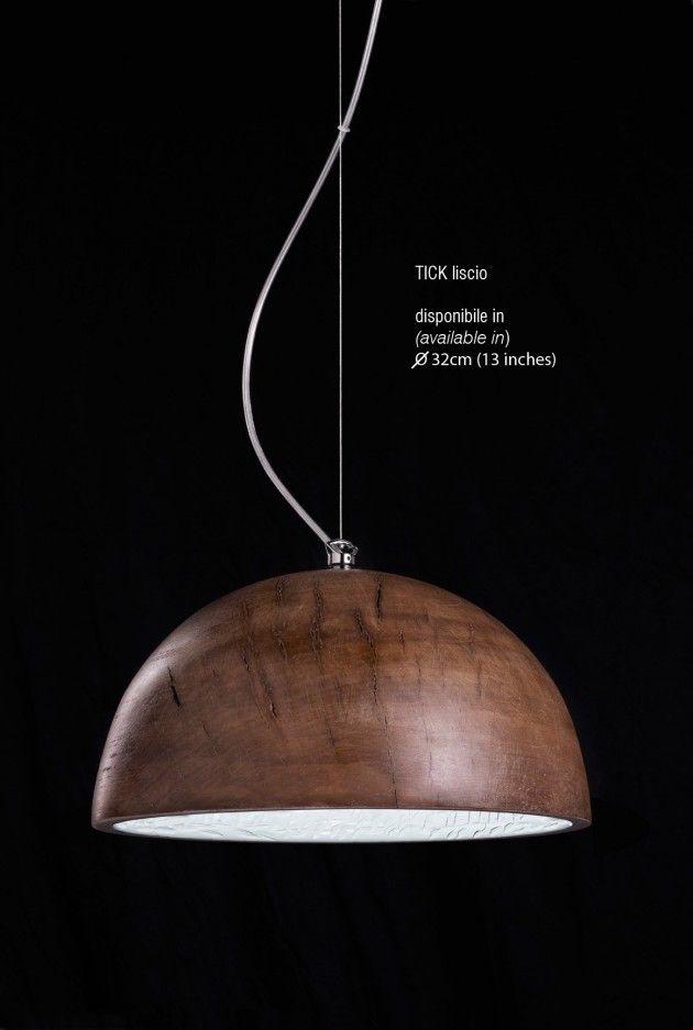 Wooden bowl lamp