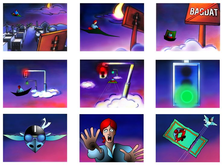 by Argiro Stavrakou, year 2003 (drafts Pan. Vasilatos) story board for a comercial spot about trafic behavior.