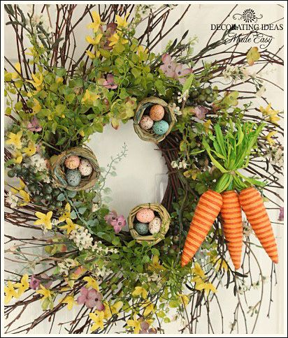 Easter Wreath- make the carrots by wrapping form w/tinted string