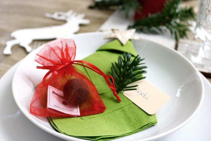 Tischdeko Weihnachten mit Seedball rot im Organzabeutel
