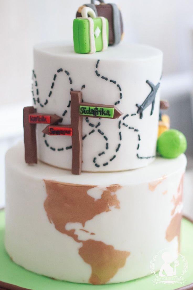 Hochzeitstorte Koffer Weltreise Weltkarte Torte Fondant Kuchen Hochzeit Cake Motivtorte Mademoiselle Cupcake SCM Magdeburg