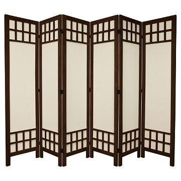 5 1/2 ft. Tall Window Pane Fabric Room Divider 6 Panels - Oriental Furniture