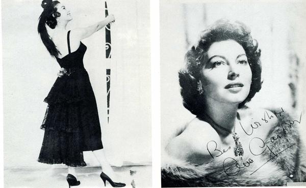 """Ava Gardner prova un abito per """"La contessa scalza"""" nell'atèlier Fontana. Foto A.P. (1953)    Ava Gardner. Ricostruzione anonima di foto con dedica autografa (1954)."""
