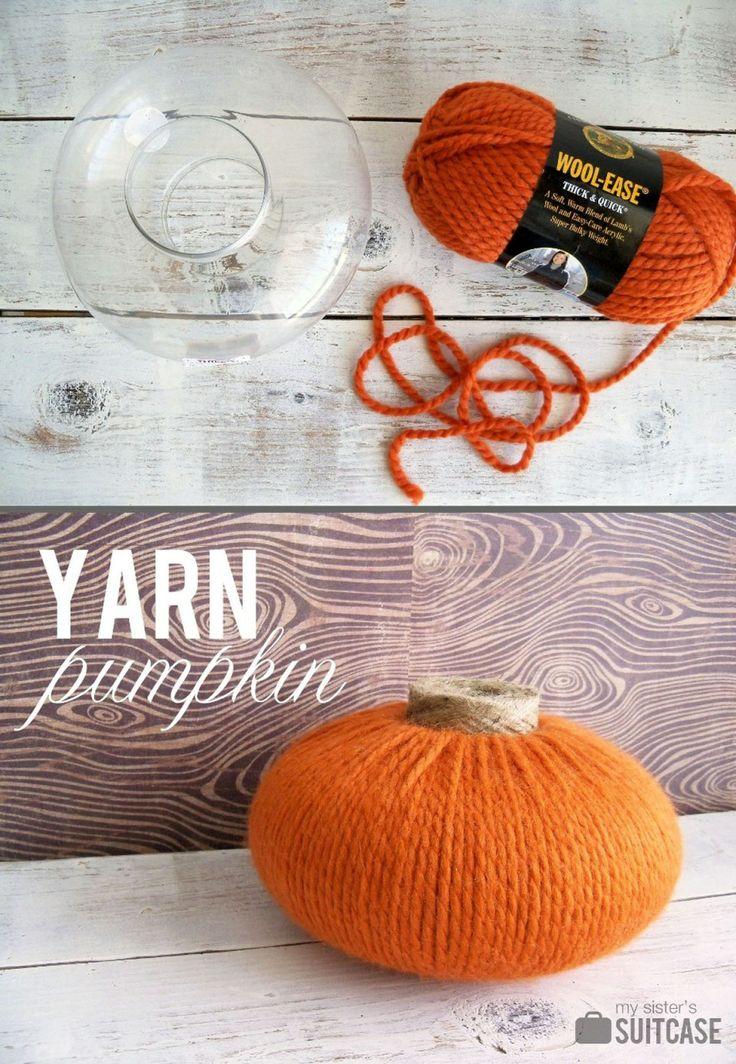 Yarn Pumpkin Tutorial from www.sisterssuitcaseblog.com #fall #pumpkin #decor