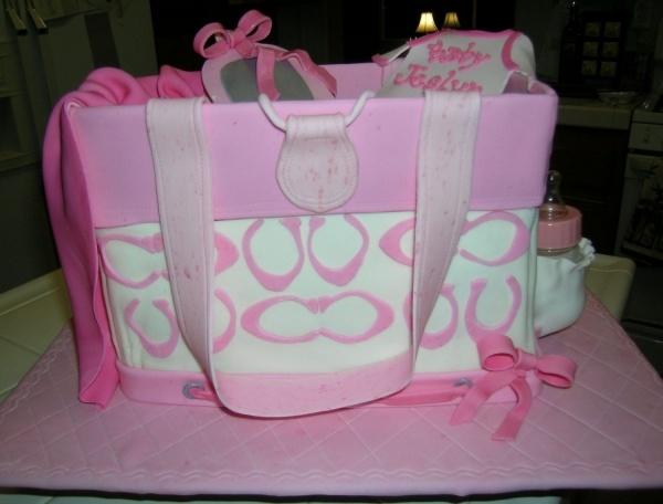 Pink Coach baby shower diaper bag cake