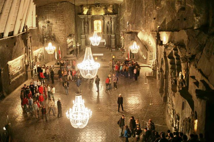 St. Kinga's Chapel (carved entirely of salt), Wieliczka Salt Mine, Poland.
