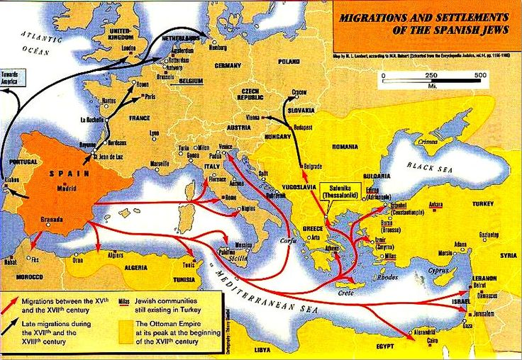 "A map showing migrations and settlements of the Spanish Jews. Credit: Wikipedia. Read more on the GenealogyBank blog: ""DNA Testing & Genealogy: Is It Working for You?"" http://blog.genealogybank.com/dna-testing-genealogy-is-it-working-for-you.html"