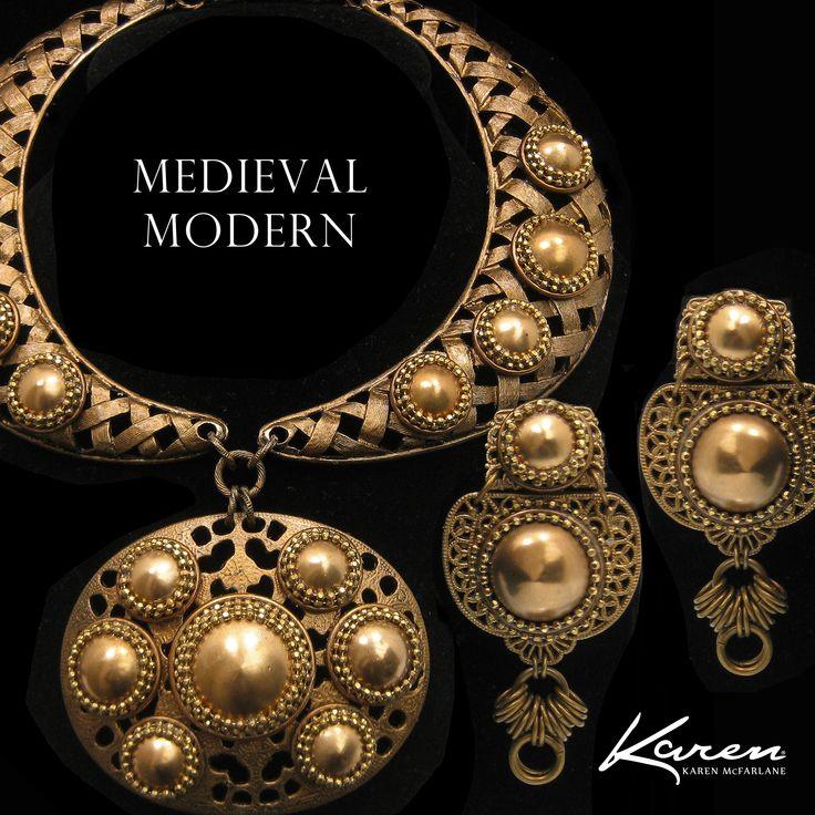 Medieval Modern Necklace (1118n) & Earrings (1089e) by Karen McFarlane #goldtone #filigree #statement #collar