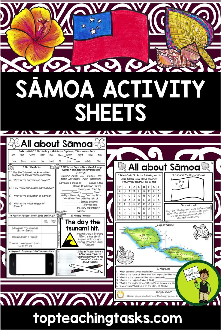 Help your students to learn about with our two-page activity sheet. It features seven activities on one page, and is ready to PRINT and GO!   This would be perfect to use during Samoan Language Week - May 28 to June 3, 2017. The focus of Samoan Language Week this year (2017) is Ma'au i lou ofaga; maua'a lou fa'asinomaga, Keep your identity alive, to thrive.  Activities included are:  1. Mix and Match Vocabulary 2. Find the facts - Research skills 3. Fill in the gaps - Cloze Activity 4. Fact…
