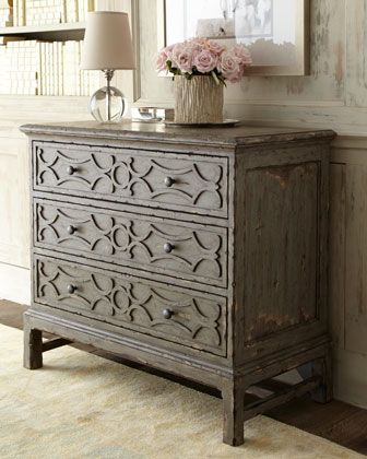 Gray Three-Drawer Chest at Horchow.Decor, Vintage Dressers, Threedraw Chest, Distressed Furniture,  Commode, Three Drawing Chest, Front Entry, Neiman Marcus, Chest Of Drawers