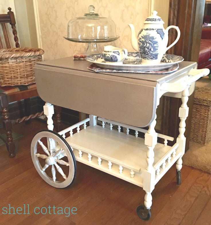 Vintage tea cart refinished in Annie Sloan chalk paint, coco and old white, sealed with white wax.