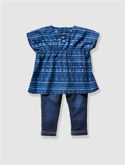 £10.80 Baby Girl's Printed Blouse & Treggings Outfit Navy print / untreated