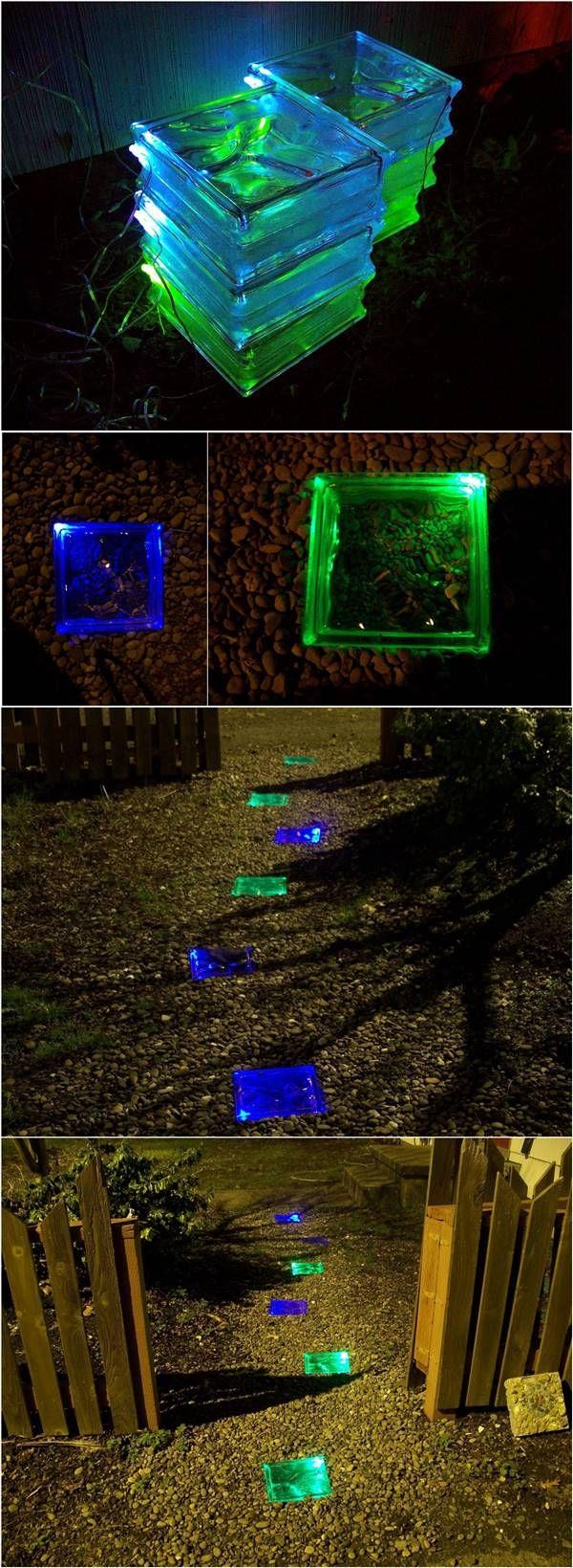 How to Make Colored Solar Powered Walkway #garden #path #decor #walkway