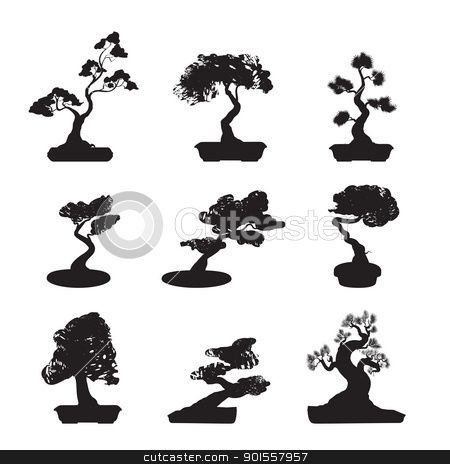 901557957 bonsai trees silhouettes 450 464 m3 for Vasi per bonsai prezzi
