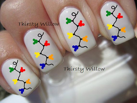Mickey Mouse Christmas Lights Nail Decals by ThirstyWillow on Etsy