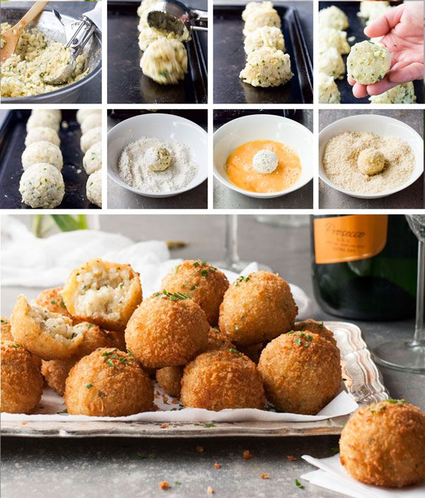Classic Italian Arancini Rice Balls in bite size form! Make risotto in the oven to make these with ease, or use leftover risotto. Shallow fried OR baked!