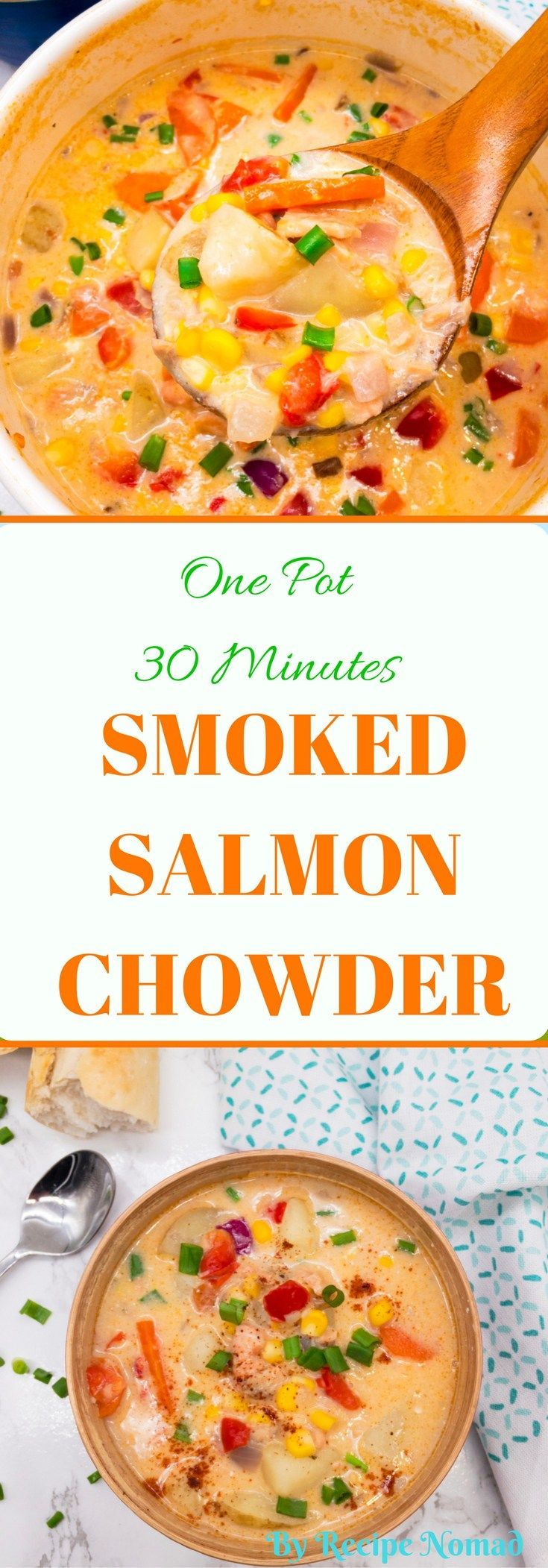 The secret to my One Pot 30 Minutes Smoked Salmon Chowder? Fresh vegetables, the best smoked salmon and a spoonful of cream cheese to give it an extra creamy flavor!   One Pot 30 Minutes Smoked Salmon Chowder   Recipe Nomad  http://www.recipenomad.com/one-pot-30-minutes-smoked-salmon-chowder/