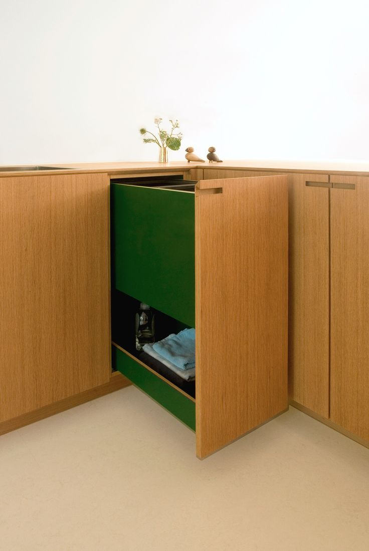 Good kitchen design is practical and personal: Here's an integrated two bin recycling solution - in solid oak and high pressure laminate. #racing #green #personality #scandinavian #kitchen #recycle #nicolajbo #interior #design