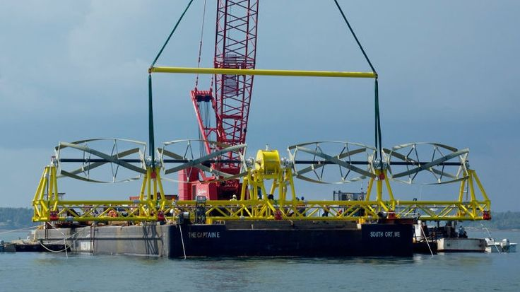 TidGen: o sistema de energia TidGen da Ocean Renewable Power Company foi feito para gerar energia livre de emissões em oceanos e rios profundos. A unidade de 4 turbinas é fixada no fundo do oceano utilizando um quadro de apoio fixo inferior ou um sistema de amarração flutuante. Crédito: Ocean Renewable Power Company