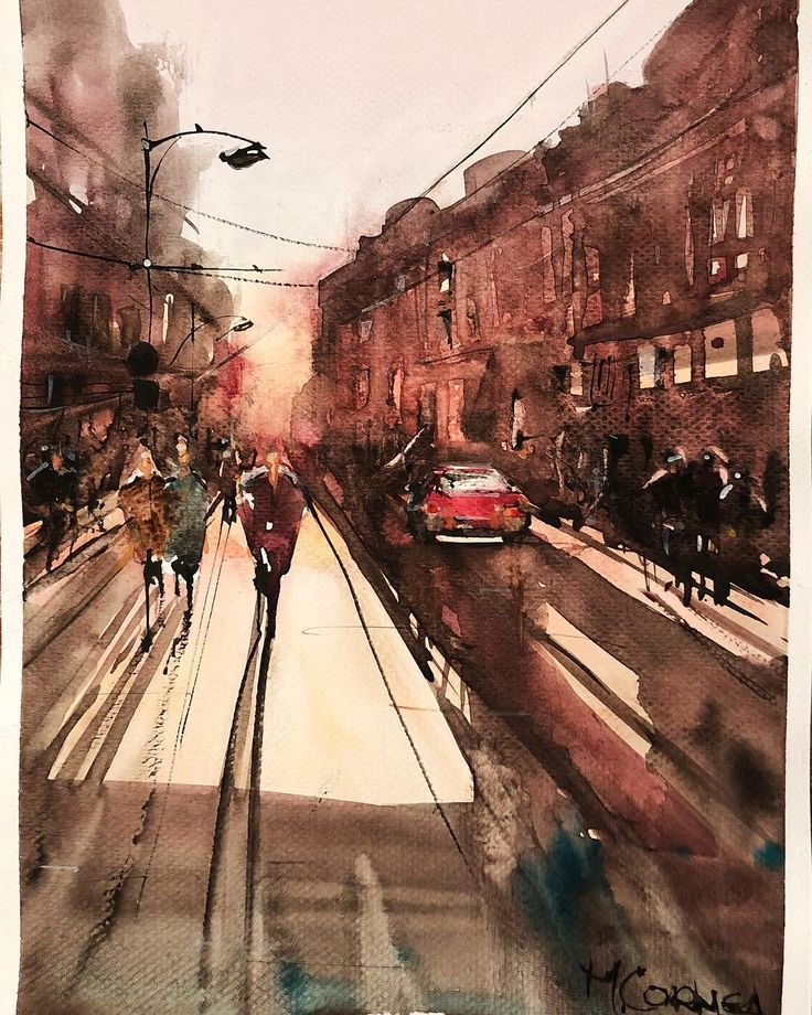 watercolor city streets