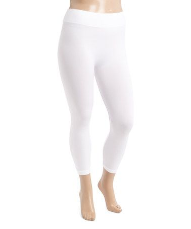 Look what I found on #zulily! White Capri Leggings - Plus #zulilyfinds