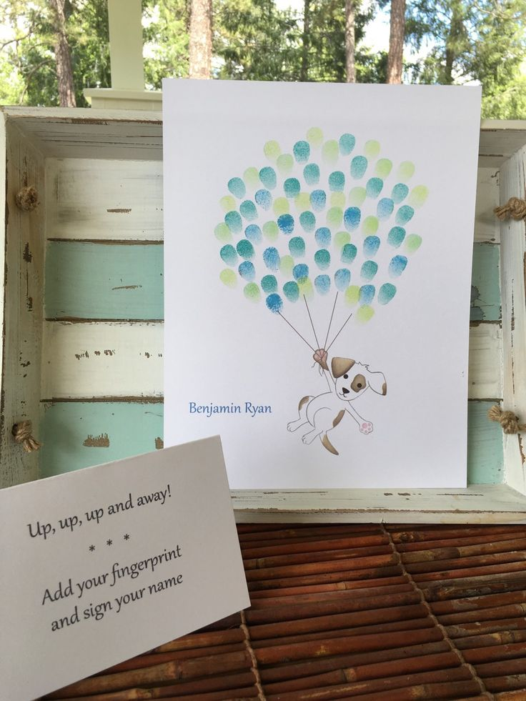 Customizable Thumb print balloon guest book with a brown and white puppy, baby boy puppy dog baby shower fingerprint guestbook, balloons - pinned by pin4etsy.com
