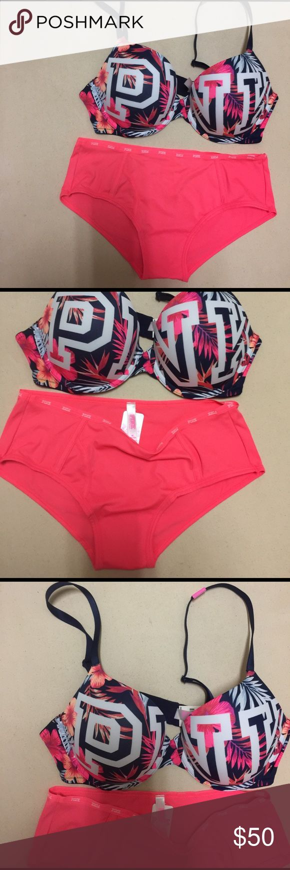 NEW: VS Pink Bra And Panty, 36C/M Both are New. Bra, Padded, 36C; Panty, Medium PINK Victoria's Secret Intimates & Sleepwear Bras