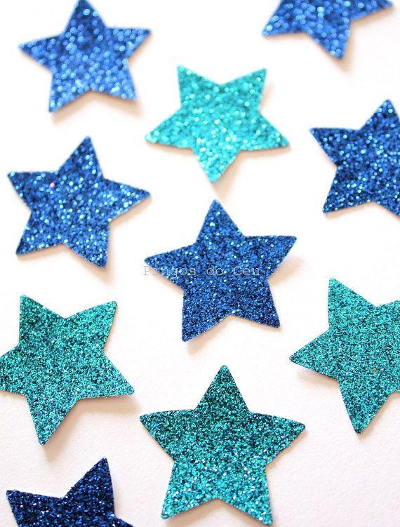 Paper Confetti  Light and Dark Blue Confetti  by pingosdoceu