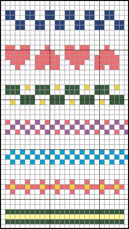 Crochet using cross stitchcharts.. patterns for various borders. Sc or hdc background bobble colors