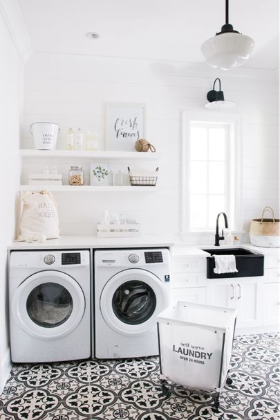 All white laundry room.