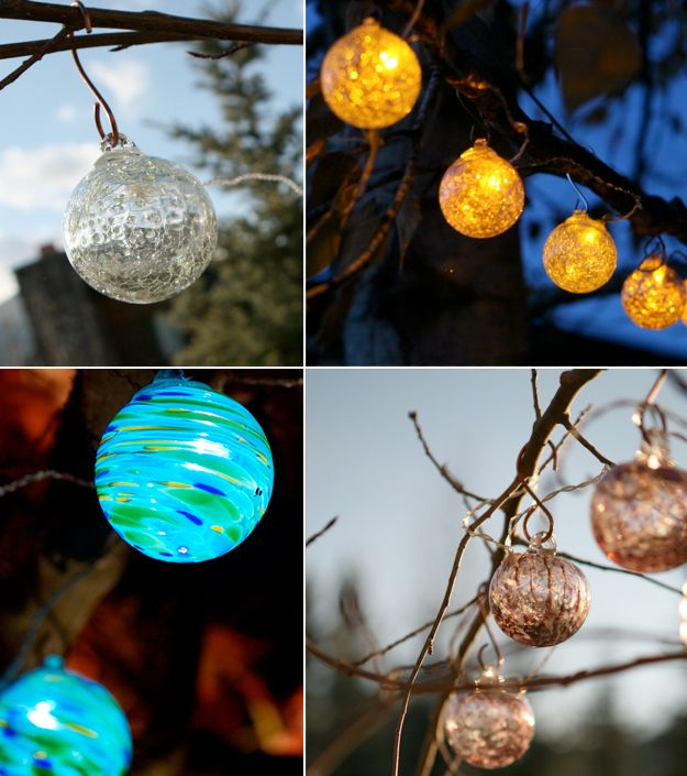aurora glow art glass solar string lights - Solar Powered Outdoor Christmas Lights