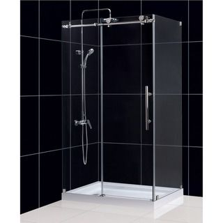dreamline enigmax 34 12 in by 48 38 in fully frameless sliding shower enclosure by dreamline