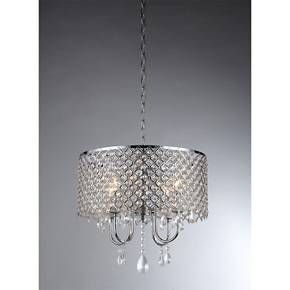Add some glam to your home with this Warehouse Of Tiffany Chandelier Ceiling Lights - Silver. Combining sparkling crystals with sleek silver, this light is a perfectly elegant fixture to hang above your dining table. This chandelier has a drum-shade outside with curved silver arms inside and then is finished with dangling crystals. With four bulbs, this ceiling light, which hangs from a silver chain, gives off a glow that highlights the beauty of the room.