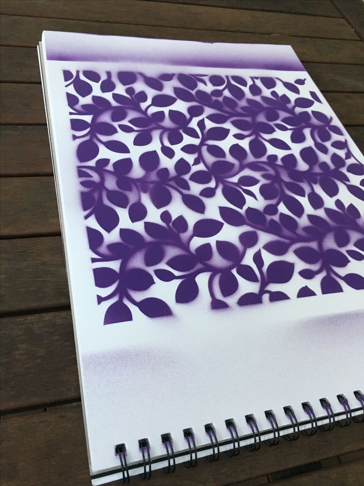 Purple leaves with stencil and spray paint