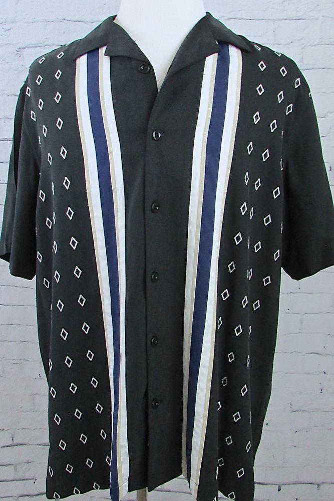 Men's Nat Nast Charlie Sheen Bowling Camp Shirt Diamond Print Black Size Large #NatNast #ButtonFront