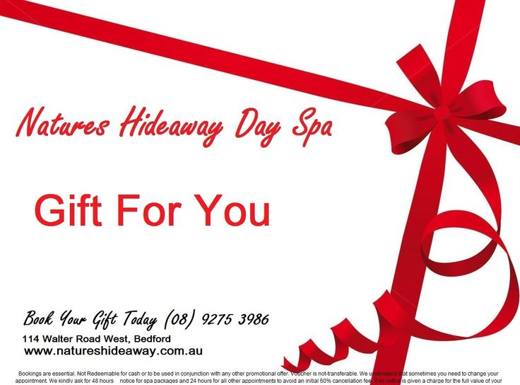 Perth's Best Gift Voucher's available 24/7 online Natures Hideaway Day Spa http://natureshideaway.com.au/DaySpa-treatments/gift-vouchers/