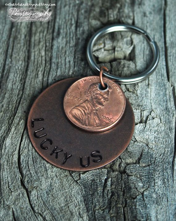 Year 7 is Copper. Penny with the year of our birth and year of meeting. Lucky Us Penny Hand Stamped Keychain by SebastianDesign on Etsy, $11.00