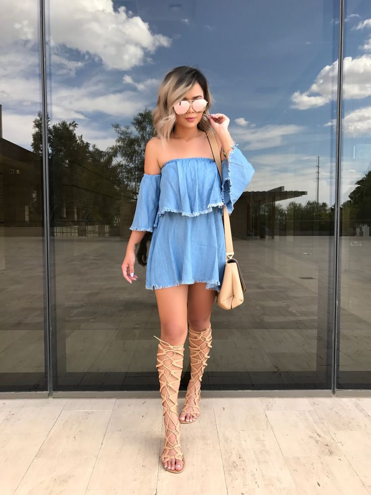@heyitsannabanana finally found the perfect denim dress   Our @elanusa Festival Forever Denim Off-The-Shoulder Dress! Shop this dress & TONS more at HERBOUTIQUE.COM! #summer