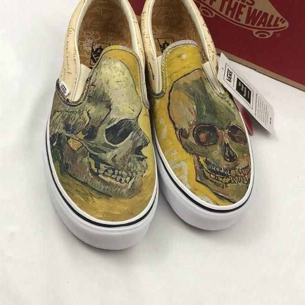 Vans X Vincent Van Gogh Skulls Slip On Old Skool Shoes Metal Gods Vans Slip On Shoes