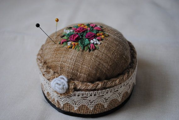Embroidered pincushion by Mydaisy2000 on Etsy, $20.00