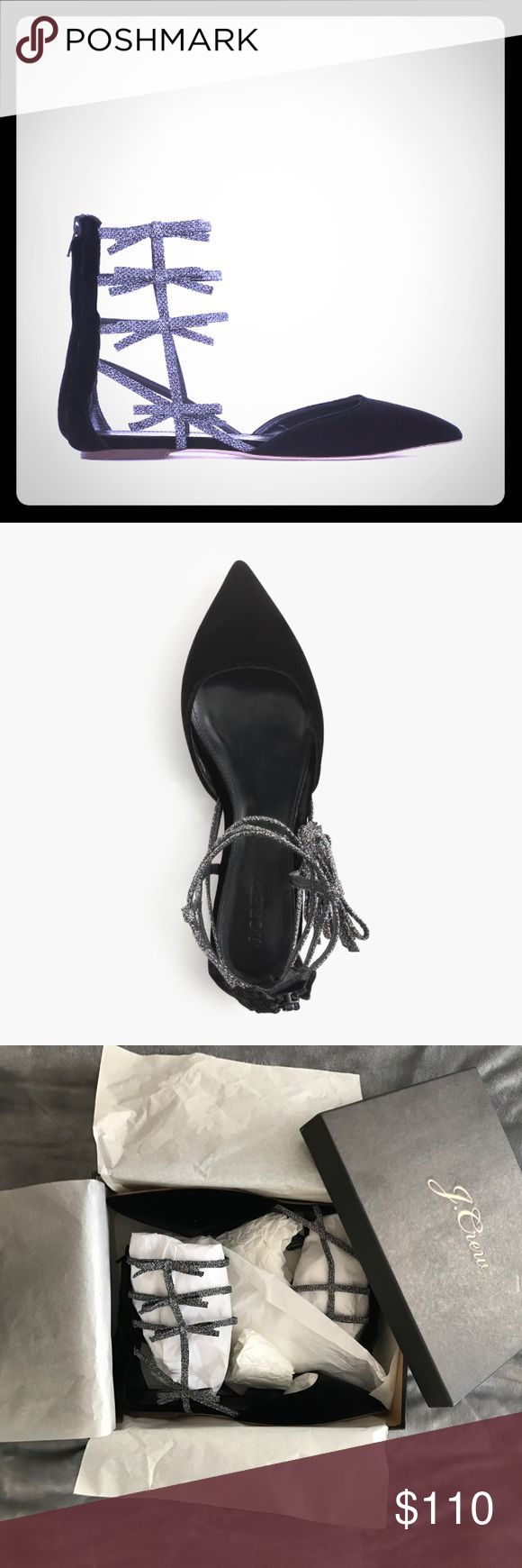 NEW JCrew Velvet Bow Gladiator Flats Gorgeous limited edition velvet flat with glitter and bow gladiator cage that runs up the ankle. New in box, never worn. J. Crew Shoes Flats & Loafers