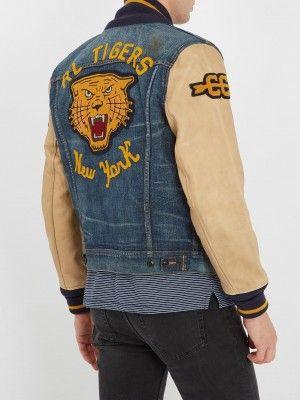 403148506d11 Polo Ralph Lauren Stadium P-wing Varsity Letterman Tigers Denim Jacket