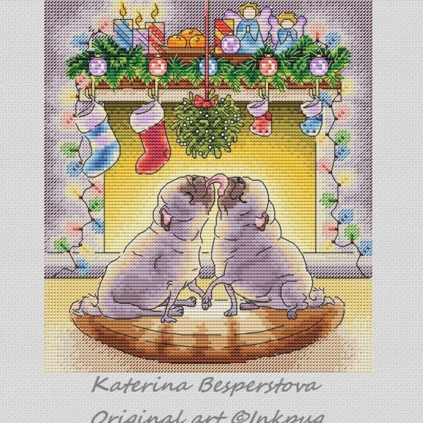 "Cross stitch design ""Christmas Pugs"" #sa_stitch #sa_pattern #pattern #crossstitch"